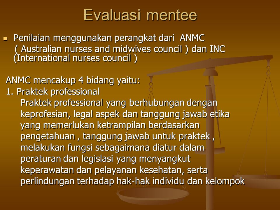 Evaluasi mentee Penilaian menggunakan perangkat dari ANMC