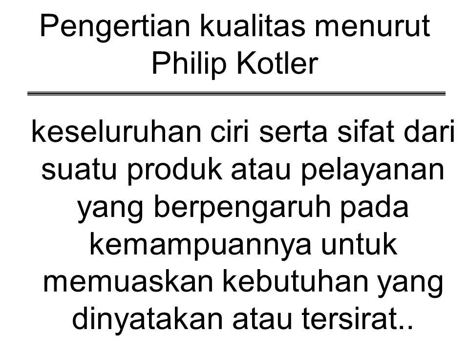 Pengertian kualitas menurut Philip Kotler