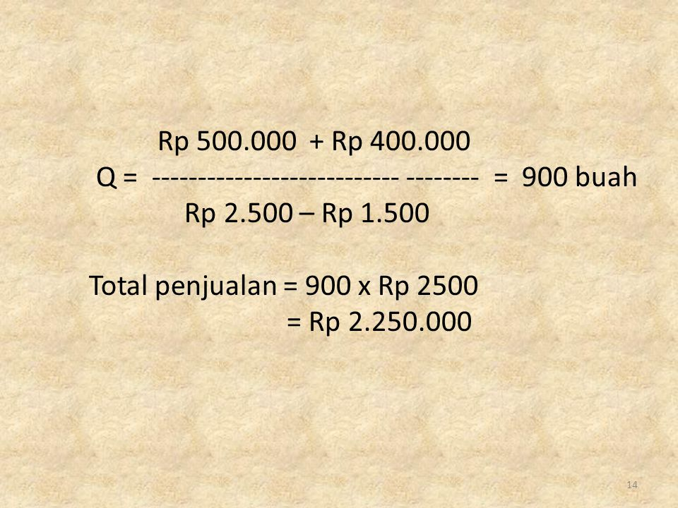 Rp 500.000 + Rp 400.000 Q = --------------------------- -------- = 900 buah. Rp 2.500 – Rp 1.500.