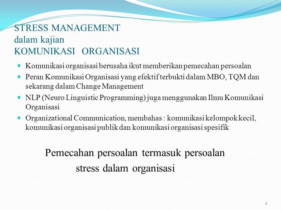 STRESS MANAGEMENT dalam kajian KOMUNIKASI ORGANISASI