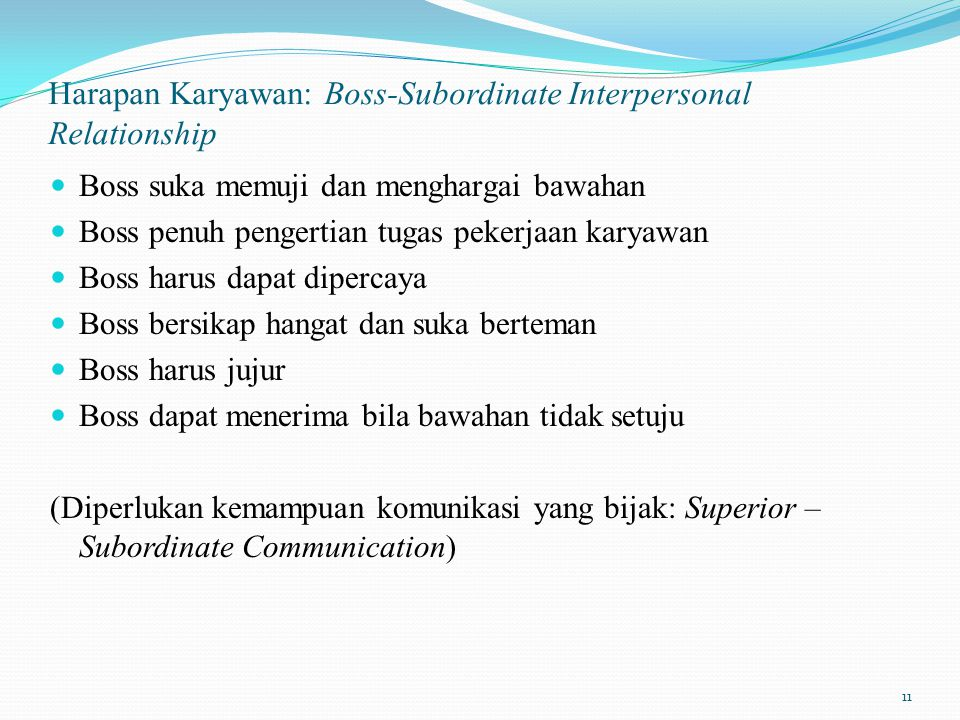 Harapan Karyawan: Boss-Subordinate Interpersonal Relationship
