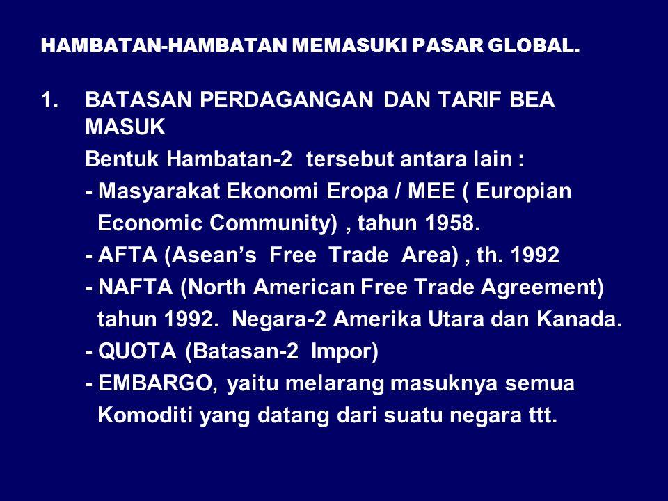 HAMBATAN-HAMBATAN MEMASUKI PASAR GLOBAL.