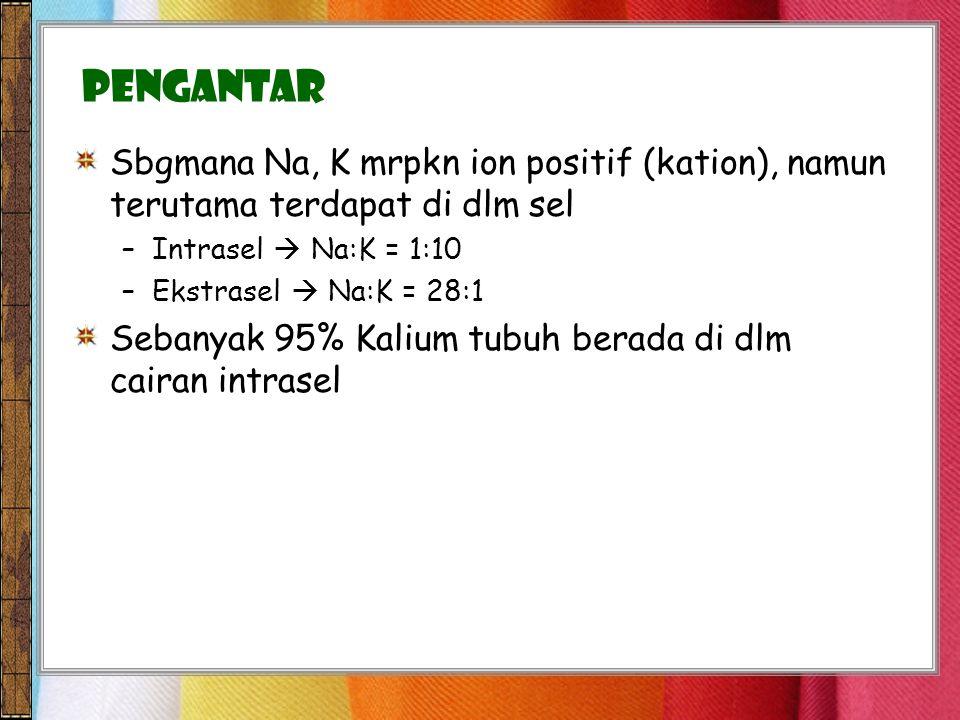 Pengantar Sbgmana Na, K mrpkn ion positif (kation), namun terutama terdapat di dlm sel. Intrasel  Na:K = 1:10.