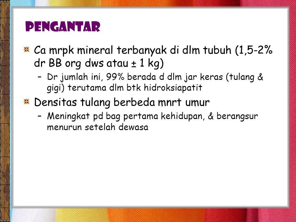 Pengantar Ca mrpk mineral terbanyak di dlm tubuh (1,5-2% dr BB org dws atau ± 1 kg)
