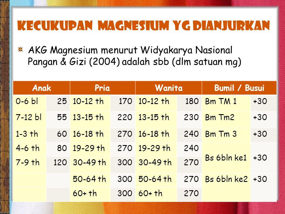 kecukupan Magnesium yg dianjurkan