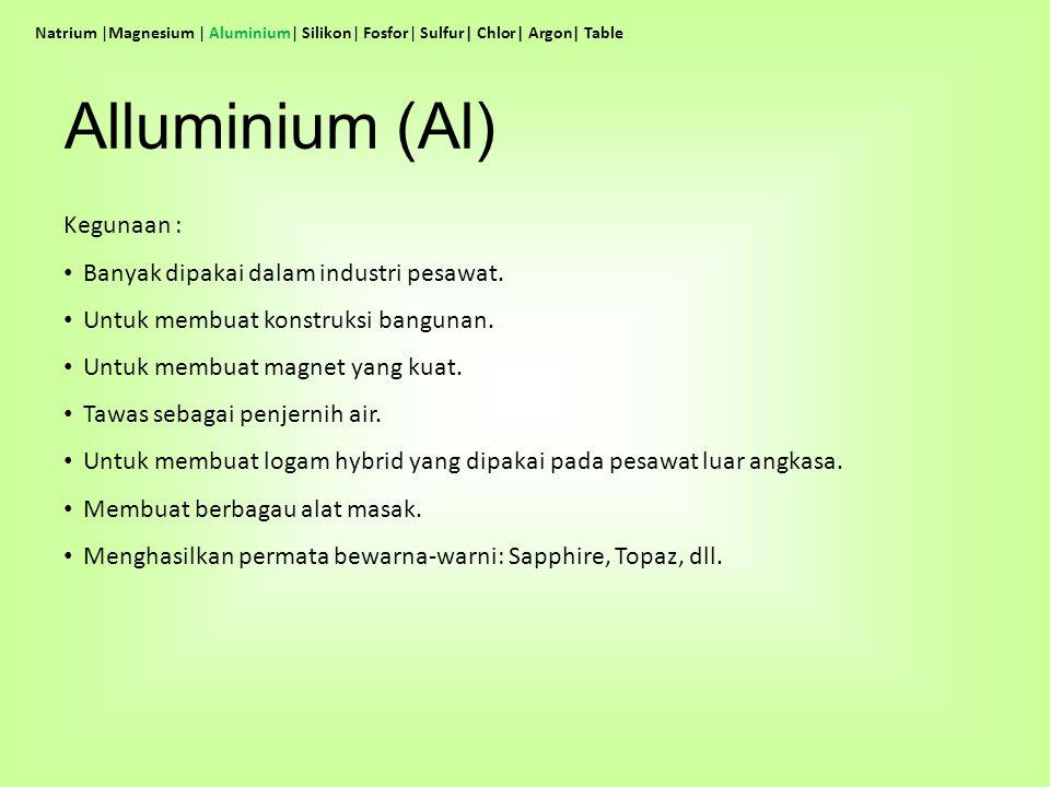 Alluminium (Al) Kegunaan : Banyak dipakai dalam industri pesawat.