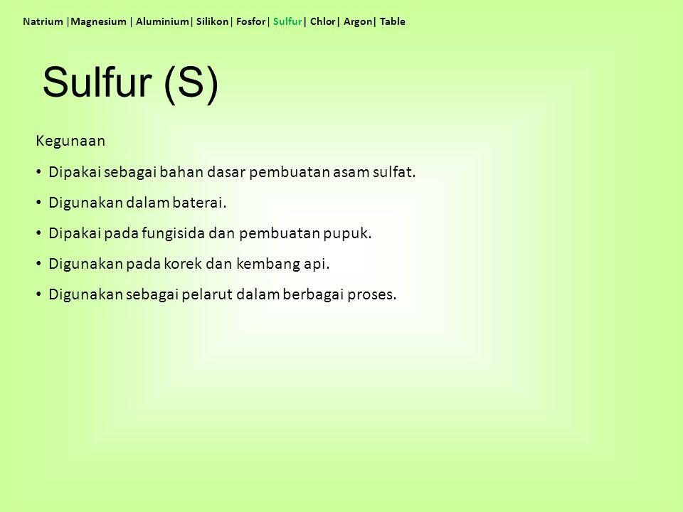 Sulfur (S) Kegunaan Dipakai sebagai bahan dasar pembuatan asam sulfat.