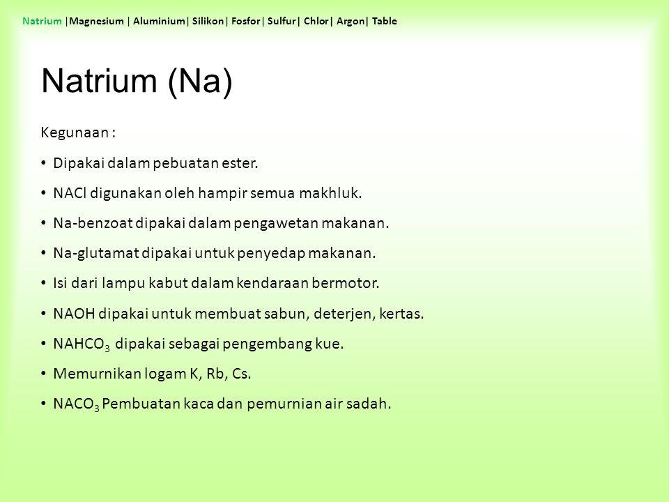 Natrium (Na) Kegunaan : Dipakai dalam pebuatan ester.