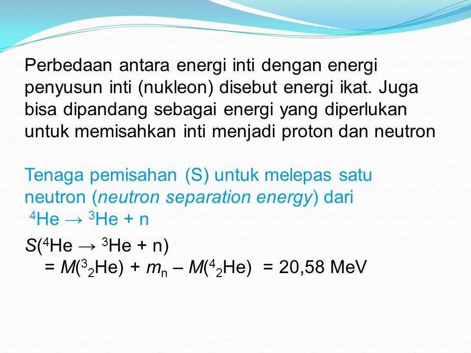 Perbedaan antara energi inti dengan energi penyusun inti (nukleon) disebut energi ikat. Juga bisa dipandang sebagai energi yang diperlukan untuk memisahkan inti menjadi proton dan neutron