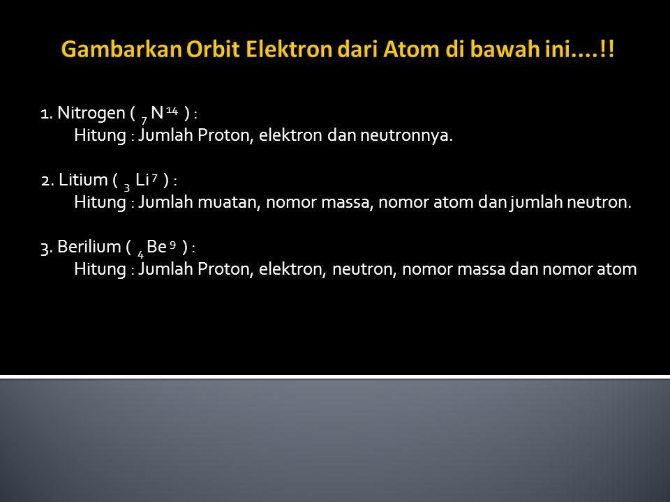 Gambarkan Orbit Elektron dari Atom di bawah ini....!!