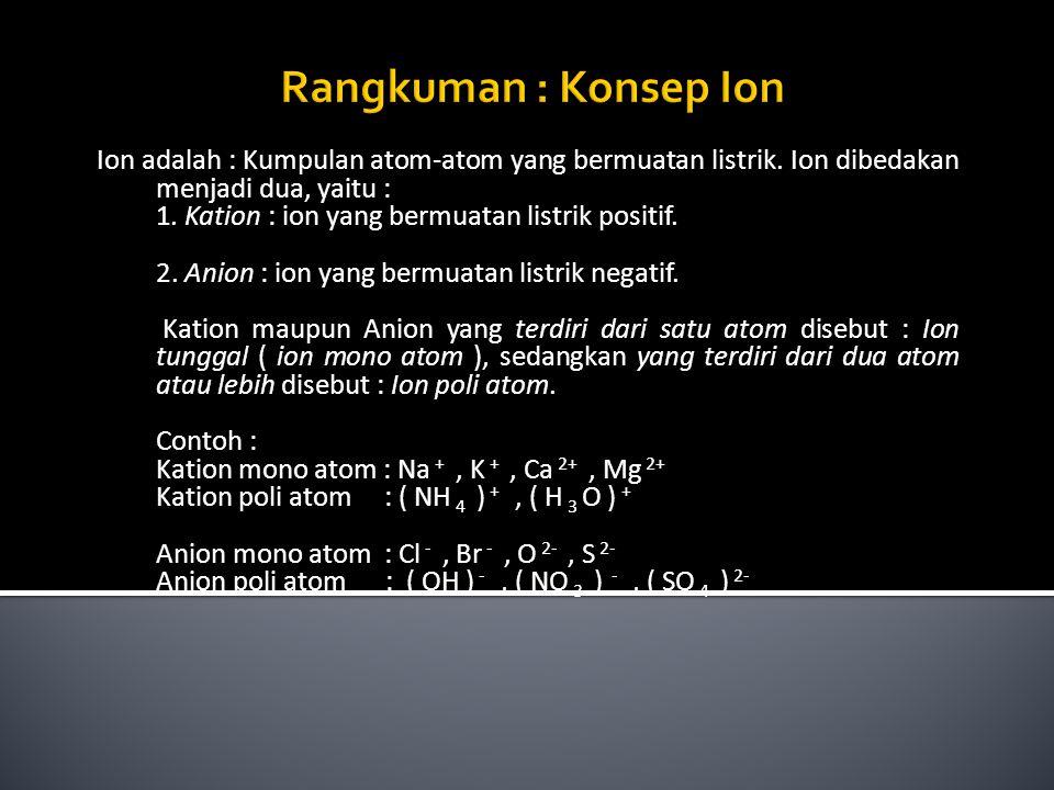Rangkuman : Konsep Ion Ion adalah : Kumpulan atom-atom yang bermuatan listrik. Ion dibedakan menjadi dua, yaitu :