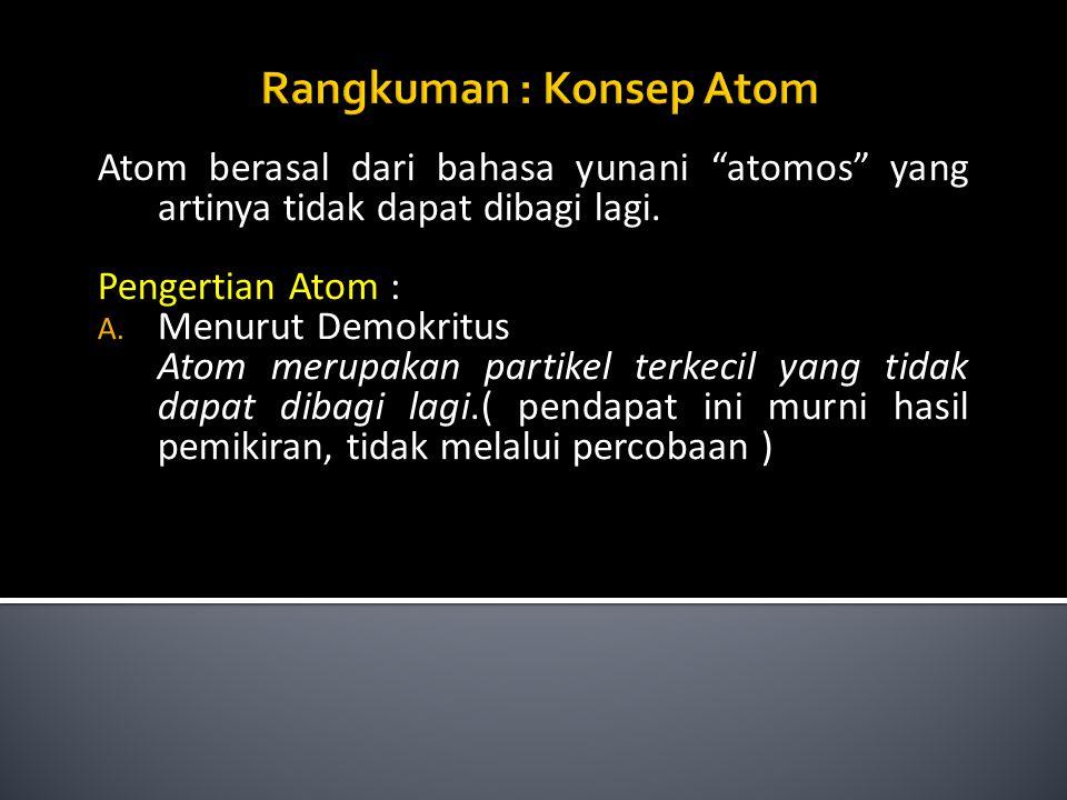 Rangkuman : Konsep Atom