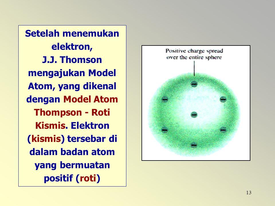 Setelah menemukan elektron, J. J