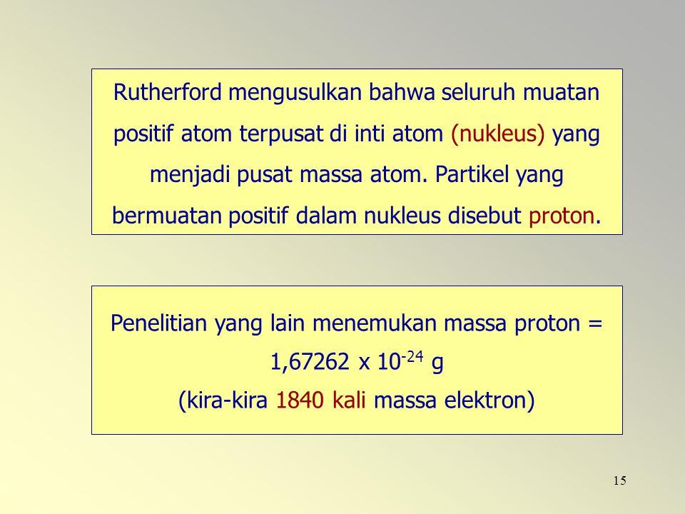 Rutherford mengusulkan bahwa seluruh muatan positif atom terpusat di inti atom (nukleus) yang menjadi pusat massa atom. Partikel yang bermuatan positif dalam nukleus disebut proton.