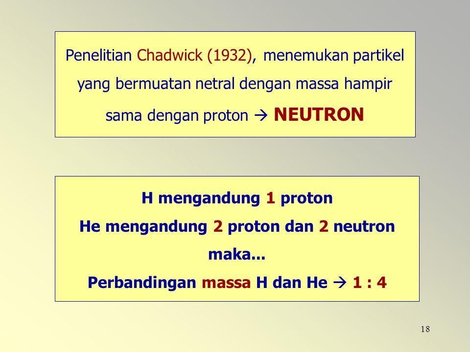 He mengandung 2 proton dan 2 neutron maka...