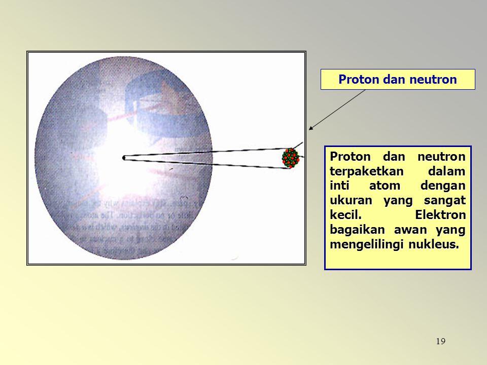 Proton dan neutron Proton dan neutron terpaketkan dalam inti atom dengan ukuran yang sangat kecil.