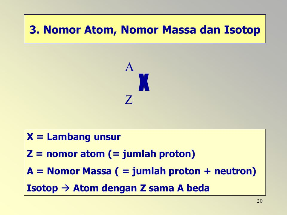 3. Nomor Atom, Nomor Massa dan Isotop
