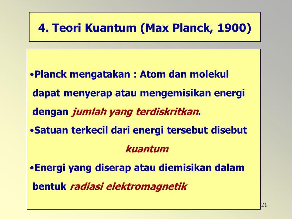 4. Teori Kuantum (Max Planck, 1900)