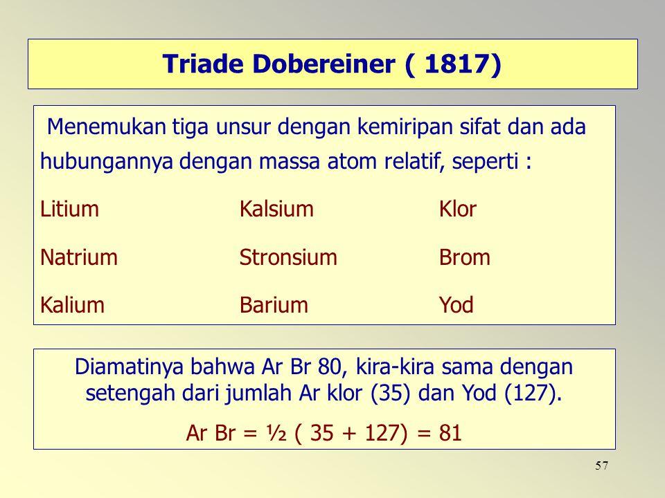 Triade Dobereiner ( 1817) Menemukan tiga unsur dengan kemiripan sifat dan ada hubungannya dengan massa atom relatif, seperti :