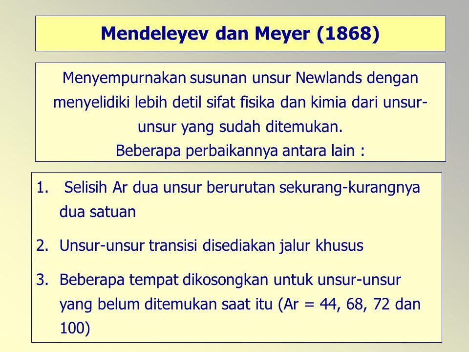 Mendeleyev dan Meyer (1868)