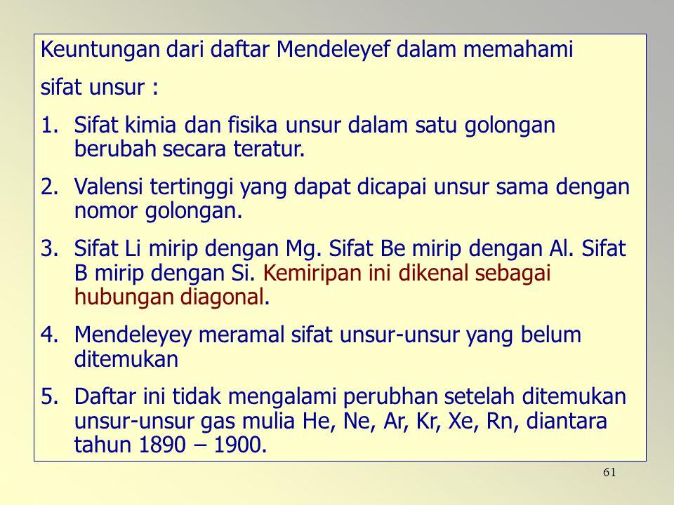 Keuntungan dari daftar Mendeleyef dalam memahami