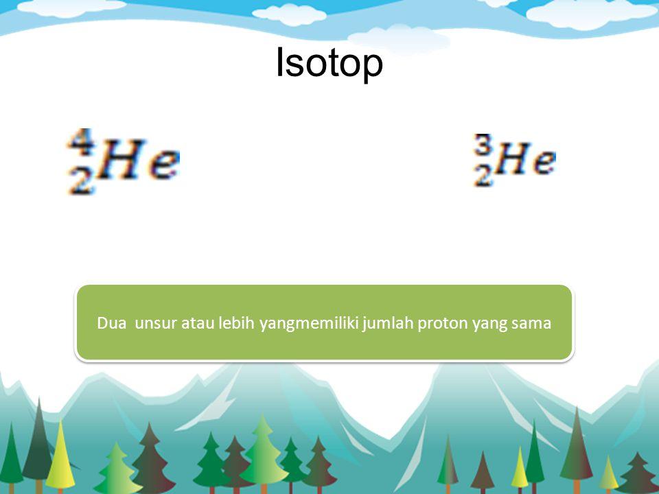 Dua unsur atau lebih yangmemiliki jumlah proton yang sama