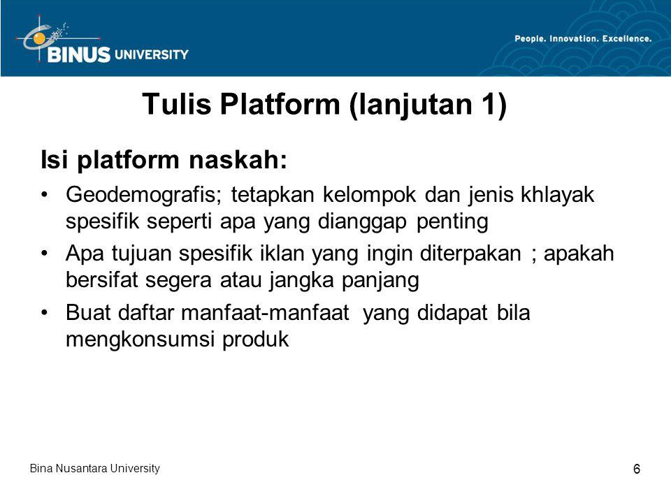 Tulis Platform (lanjutan 1)