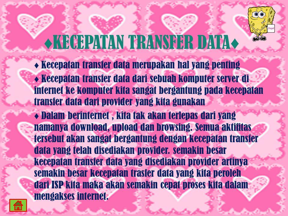 ♦KECEPATAN TRANSFER DATA♦
