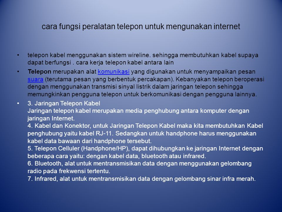 cara fungsi peralatan telepon untuk mengunakan internet