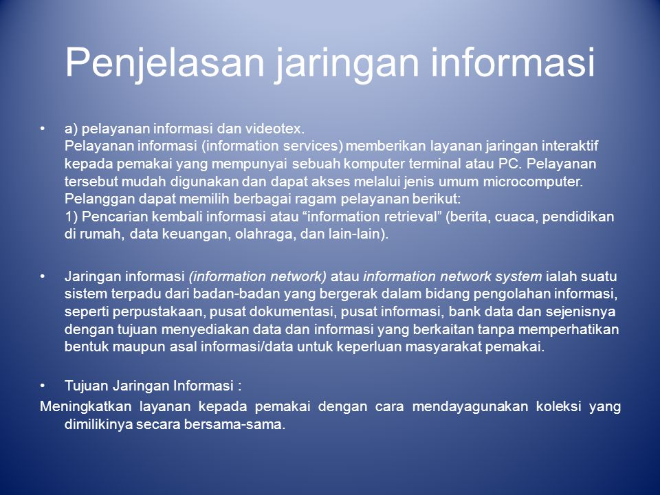 Penjelasan jaringan informasi