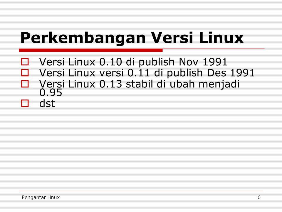Perkembangan Versi Linux