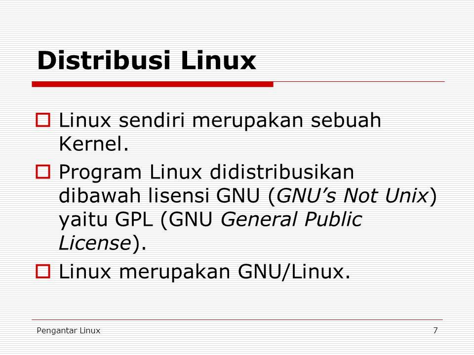 Distribusi Linux Linux sendiri merupakan sebuah Kernel.