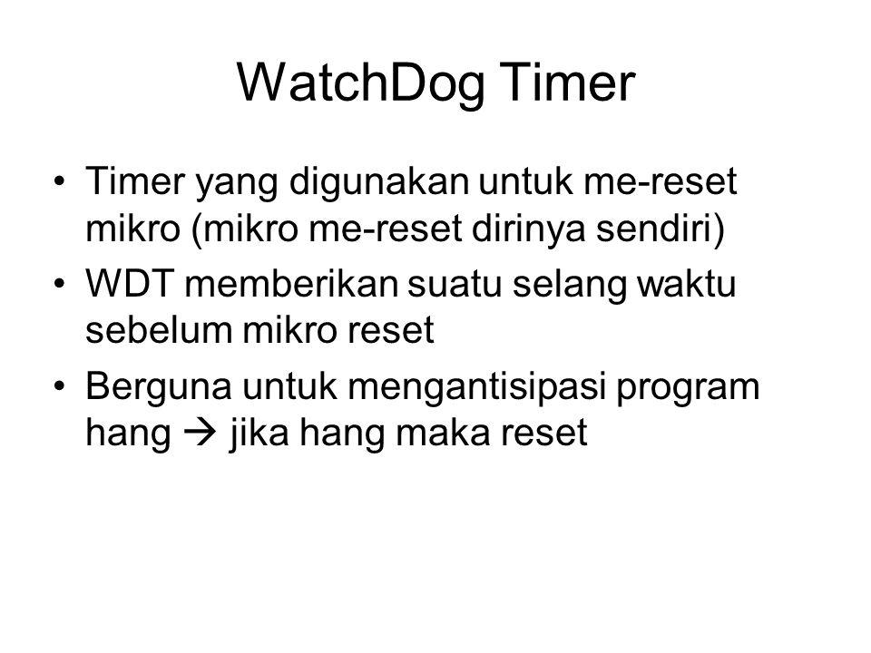 WatchDog Timer Timer yang digunakan untuk me-reset mikro (mikro me-reset dirinya sendiri) WDT memberikan suatu selang waktu sebelum mikro reset.