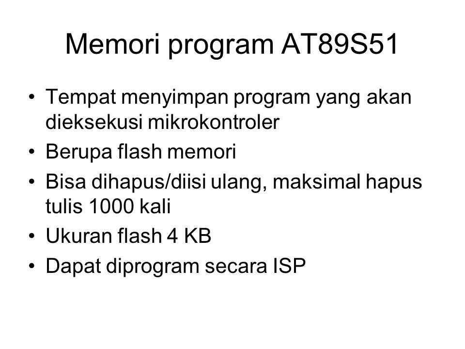 Memori program AT89S51 Tempat menyimpan program yang akan dieksekusi mikrokontroler. Berupa flash memori.