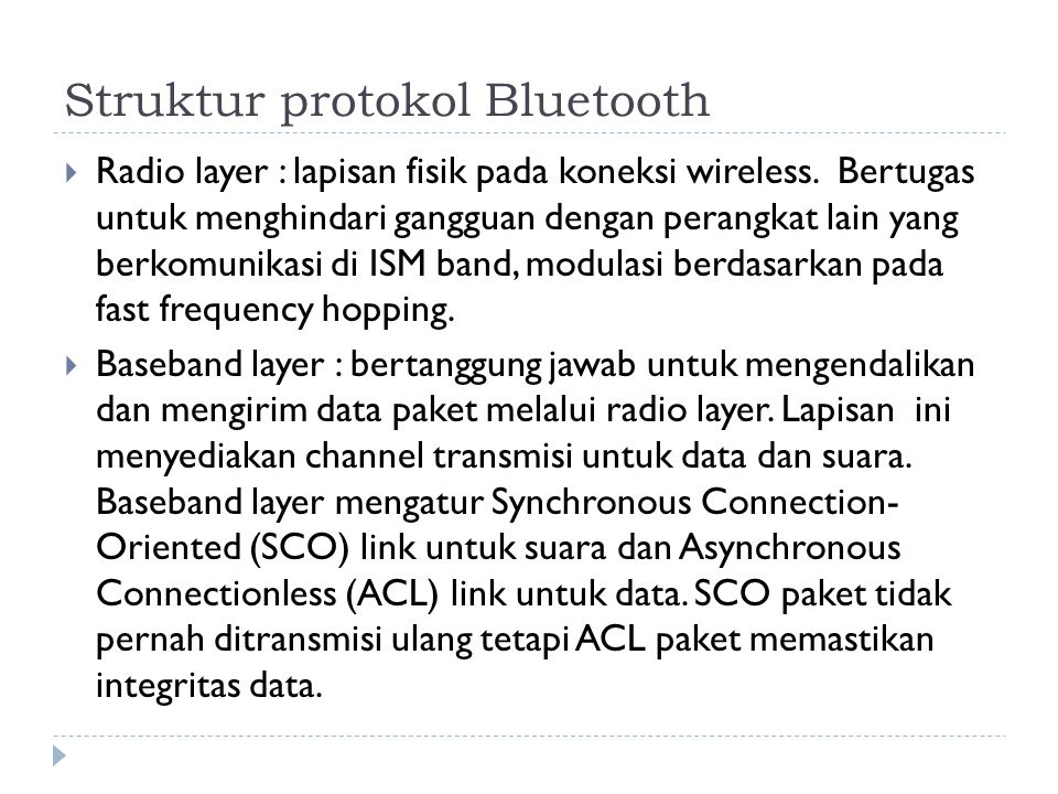 Struktur protokol Bluetooth