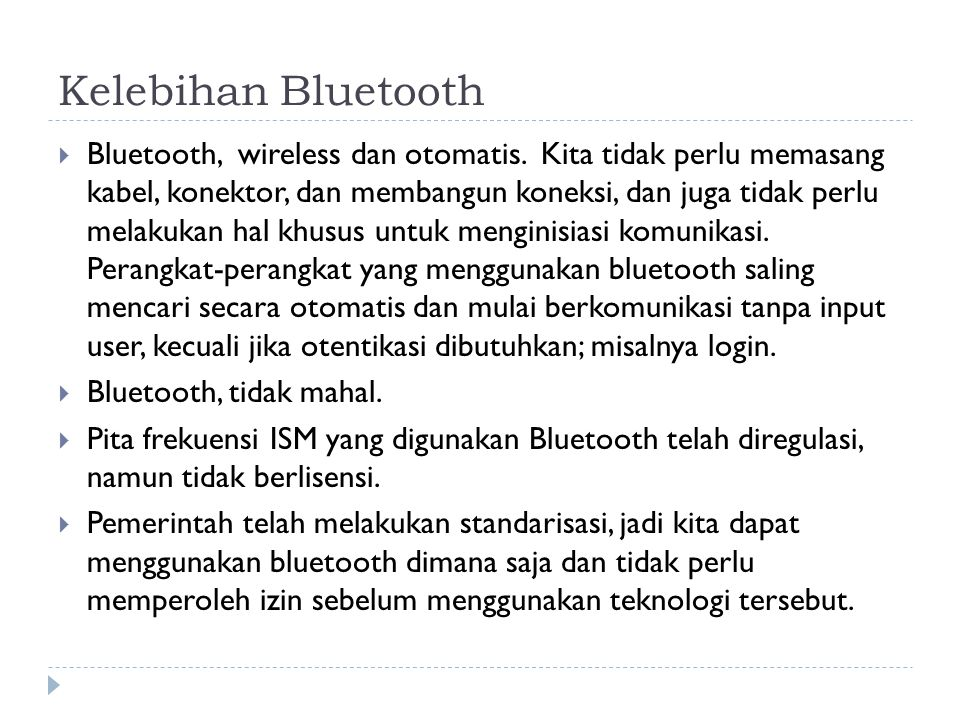 Kelebihan Bluetooth