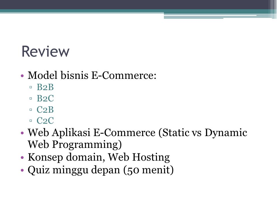 Review Model bisnis E-Commerce: