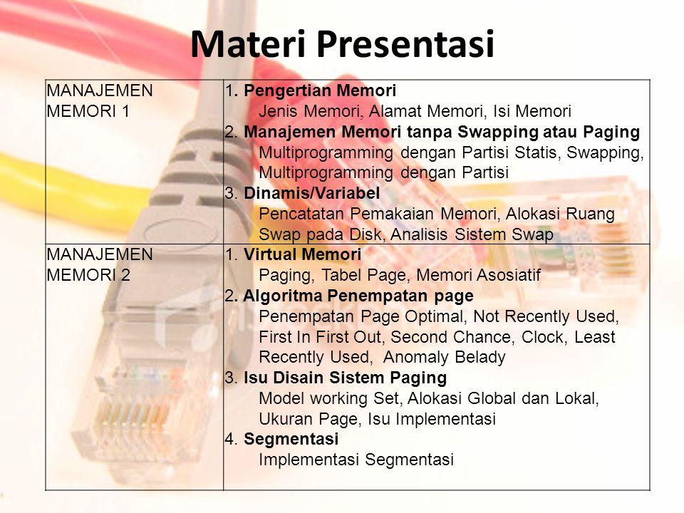 Materi Presentasi MANAJEMEN MEMORI 1 1. Pengertian Memori