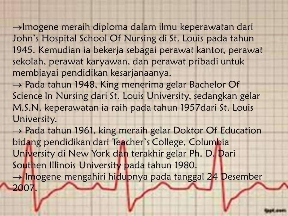 Imogene meraih diploma dalam ilmu keperawatan dari John's Hospital School Of Nursing di St. Louis pada tahun 1945. Kemudian ia bekerja sebagai perawat kantor, perawat sekolah, perawat karyawan, dan perawat pribadi untuk membiayai pendidikan kesarjanaanya.