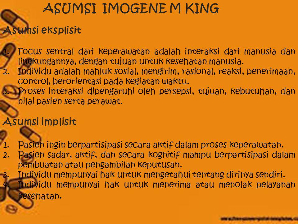 ASUMSI IMOGENE M KING Asumsi eksplisit Asumsi implisit