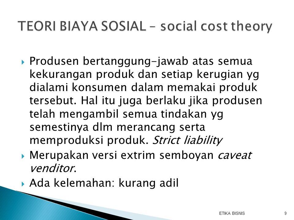TEORI BIAYA SOSIAL – social cost theory
