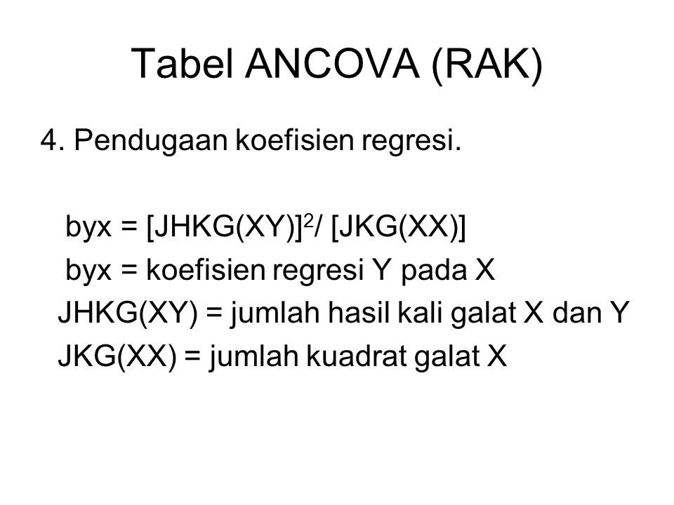 Tabel ANCOVA (RAK) 4. Pendugaan koefisien regresi.
