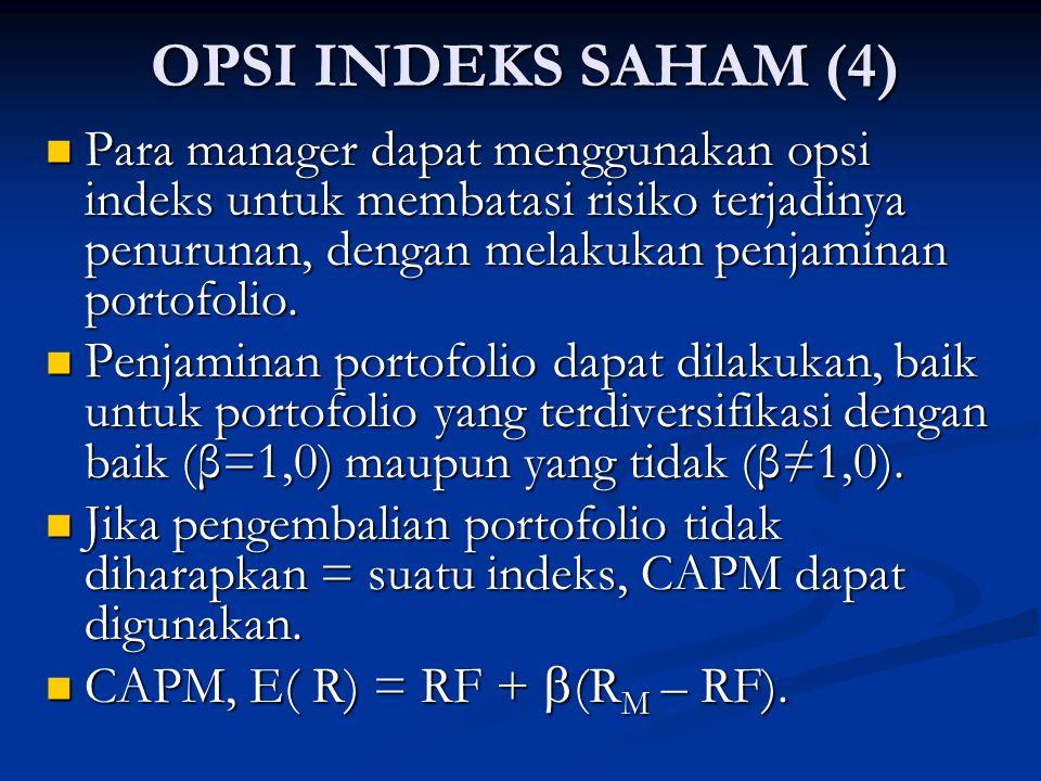 OPSI INDEKS SAHAM (4) Para manager dapat menggunakan opsi indeks untuk membatasi risiko terjadinya penurunan, dengan melakukan penjaminan portofolio.