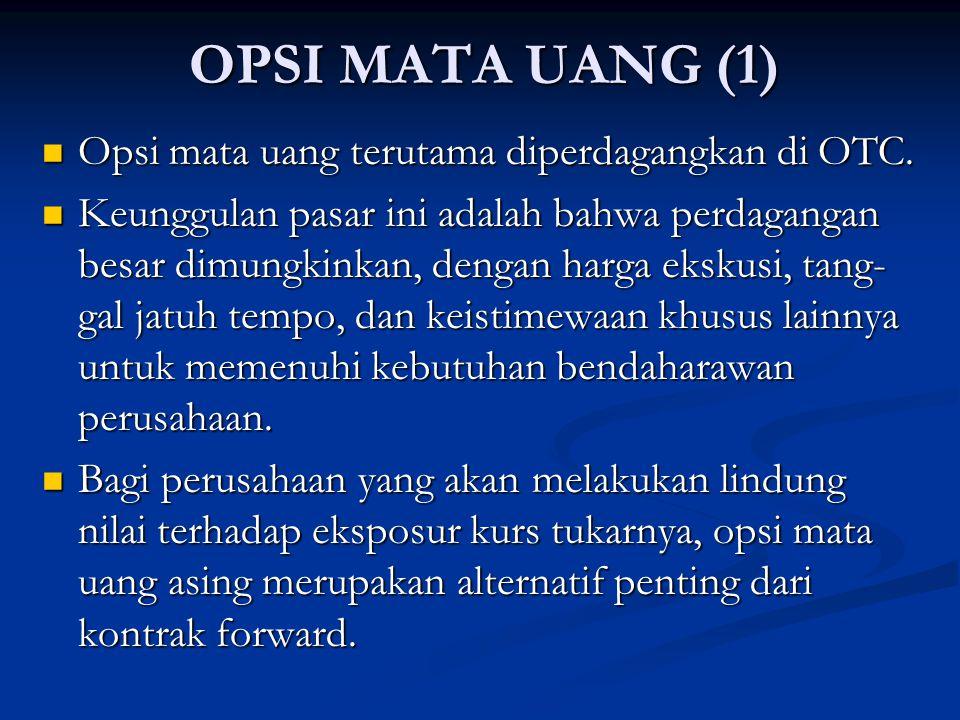 OPSI MATA UANG (1) Opsi mata uang terutama diperdagangkan di OTC.