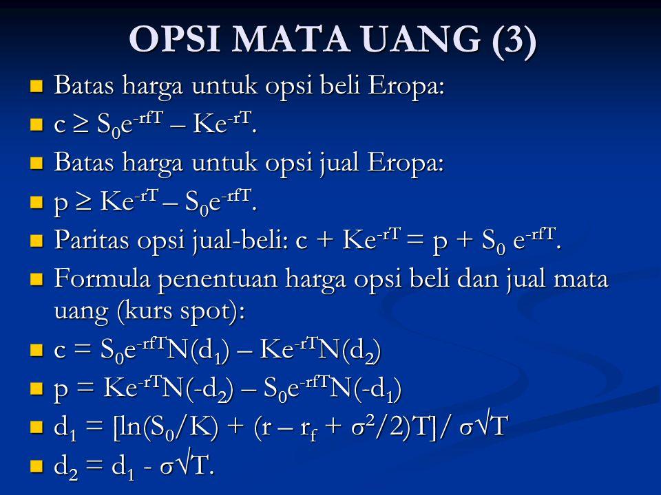 OPSI MATA UANG (3) Batas harga untuk opsi beli Eropa: