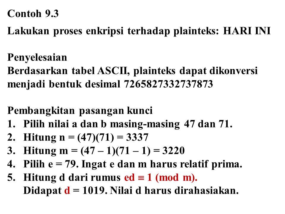 Contoh 9.3 Lakukan proses enkripsi terhadap plainteks: HARI INI. Penyelesaian. Berdasarkan tabel ASCII, plainteks dapat dikonversi.
