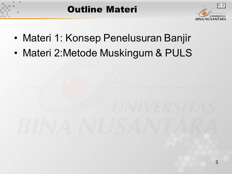 Materi 1: Konsep Penelusuran Banjir Materi 2:Metode Muskingum & PULS
