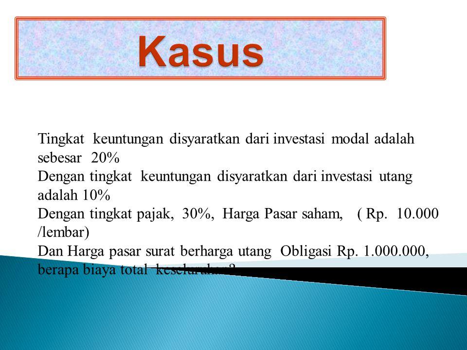 Kasus Tingkat keuntungan disyaratkan dari investasi modal adalah sebesar 20%