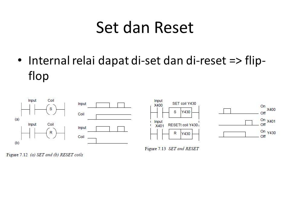 Set dan Reset Internal relai dapat di-set dan di-reset => flip-flop