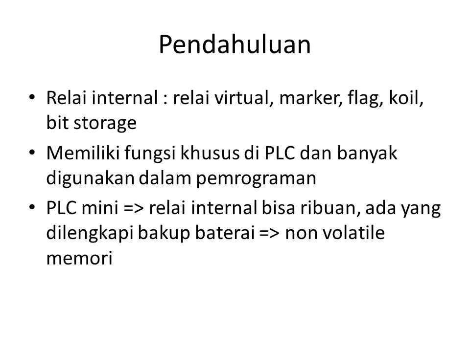 Pendahuluan Relai internal : relai virtual, marker, flag, koil, bit storage. Memiliki fungsi khusus di PLC dan banyak digunakan dalam pemrograman.